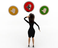 3d woman with womany like button concept Stock Photo