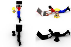 3d woman work time concept collections with alpha and shadow channel Stock Photography