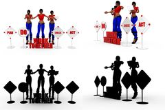 3d woman work toghther Concept Collections With Alpha And Shadow Channel Royalty Free Stock Image