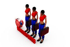 3d woman working hour concept Royalty Free Stock Photos