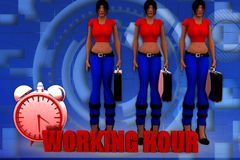 3d woman working hour illustration Stock Image