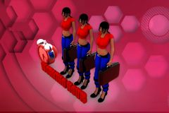 3d woman working hour illustration Royalty Free Stock Photo