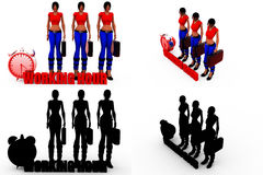 3d woman working hours concept Collections With Alpha And Shadow Channel Stock Photography