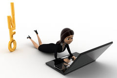 3d woman working on latpoop and with info text concept Royalty Free Stock Images