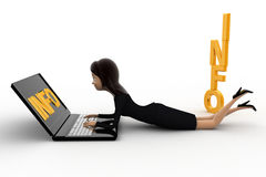 3d woman working on latpoop and with info text concept Stock Photography