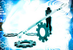 3d woman with wrench and mechanical cogwheel illustration Royalty Free Stock Photos
