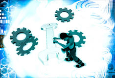 3d woman with wrench and mechanical cogwheel illustration Royalty Free Stock Photo