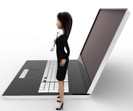 3d woman with wrench to repair laptop computer concept Stock Image