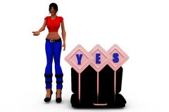 3d woman yes conept Royalty Free Stock Image