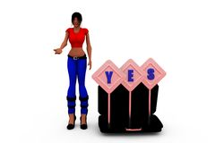 3d woman yes conept Stock Photos