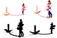 3d woman yes no anchor concept Collections With Alpha And Shadow Channel Stock Photo