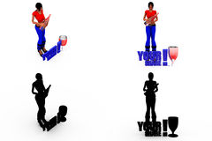 3d woman yes no bottle concept Collections With Alpha And Shadow Channel Stock Photo
