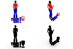 3d woman yes no bottle concept Collections With Alpha And Shadow Channel Royalty Free Stock Photo