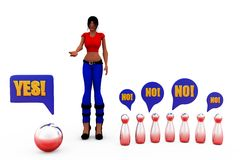 3d woman yes no concept Royalty Free Stock Photography