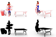 3d woman yes no confusion concept Collections With Alpha And Shadow Channel Stock Photos