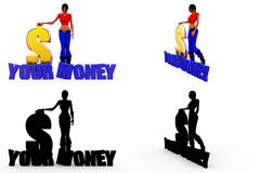 3d woman your money concept Collections With Alpha And Shadow Channel Stock Image
