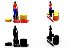 3d woman your money concept Collections With Alpha And Shadow Channel Stock Photos