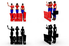 3d  woman your opinion concept Collections With Alpha And Shadow Channel Royalty Free Stock Image