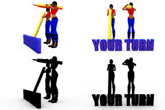 3d woman your turn concept Collections With Alpha And Shadow Channel Royalty Free Stock Images