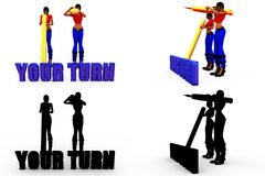 3d woman your turn concept Collections With Alpha And Shadow Channel Stock Images