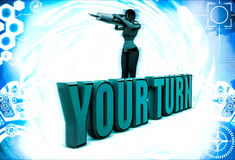3d woman with your turn and pen illustration Stock Image