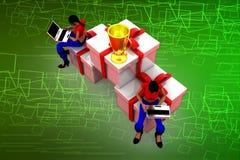 3D womanprize box illustration Stock Image
