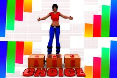 3d women abc choice illustration Stock Photos