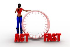 3d women act fast illustration Stock Images