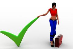 3d Women Agree Check Mark with briefcase Royalty Free Stock Image