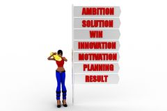 3D women ambition motivation win result concept Stock Images