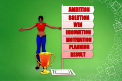 3D women ambition motivation win result illustration Royalty Free Stock Photography