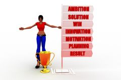 3D women ambition motivation win result illustration Stock Photography