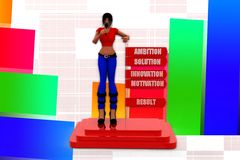 3d women ambition solution innovation motivation result illustration Stock Image