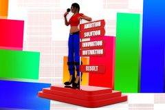3d women ambition solution innovation motivation result illustration Stock Photo
