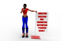 3D women  Ambition Solution Win Innovation Motivation Planning Result  concept Royalty Free Stock Photography