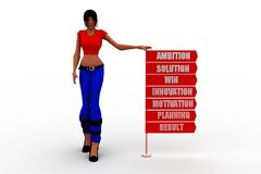 3D Women  Ambition Solution Win Innovation Motivation Planning Result  concept Stock Images
