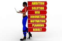 3D Women  Ambition Solution Win Innovation Motivation Planning Result  concept Royalty Free Stock Image
