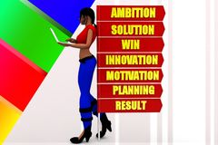 3D Women  Ambition Solution Win Innovation Motivation Planning Result  illustration Stock Image