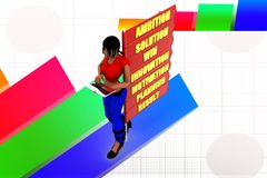 3D Women  Ambition Solution Win Innovation Motivation Planning Result  illustration Stock Photography
