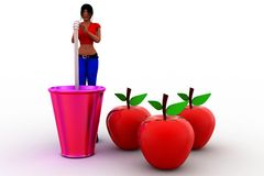 3d women apple drink Stock Photo