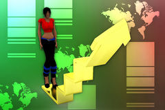 3d women arrow graph illustration Royalty Free Stock Photos