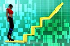 3d women arrow graph illustration Stock Photography