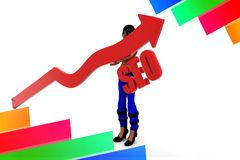 3d Women Arrow Seo Royalty Free Stock Images