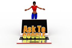 3d women ask to google Stock Images
