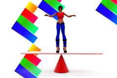 3d women balancing illustration Royalty Free Stock Images