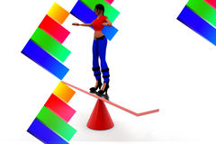 3d women balancing illustration Stock Images