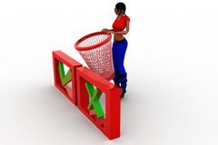 3d women basket with correct and wrong symbols illustration Royalty Free Stock Photos