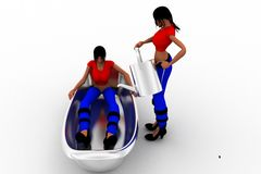 3d women in bath tub Royalty Free Stock Photo