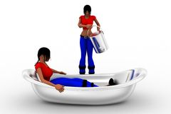 3d women in bath tub Royalty Free Stock Photography