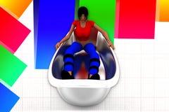 3d women in bath tub illustration Stock Image